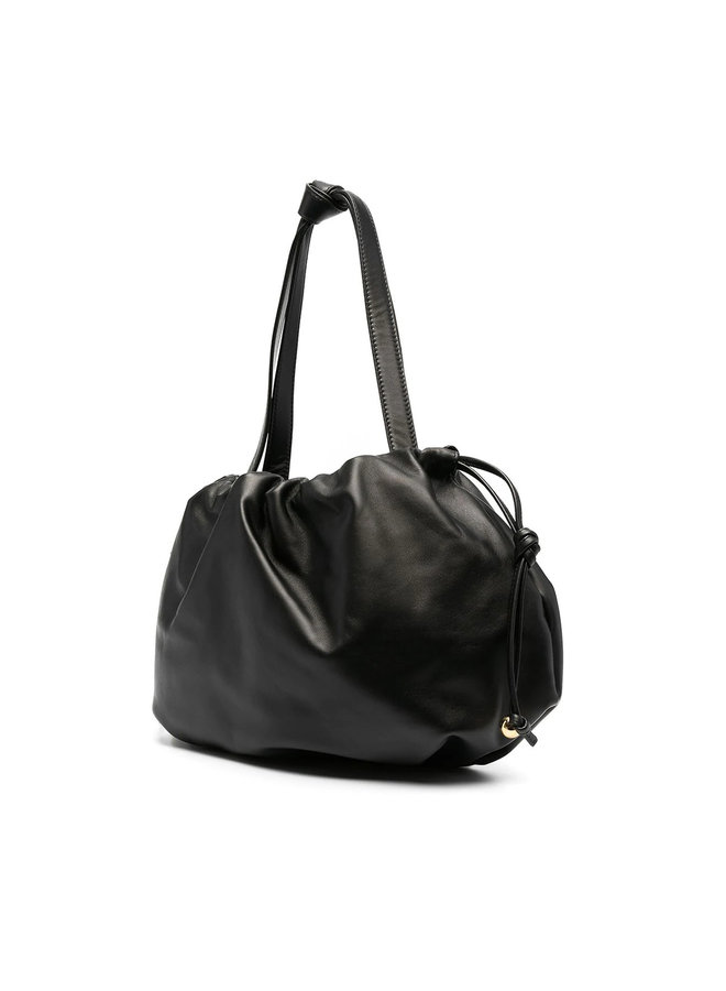 Top Handle Pouch Bag in Leather in Black