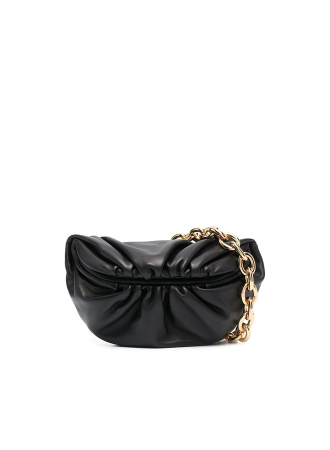The Pouch Chain Belt Bag in Leather in Black
