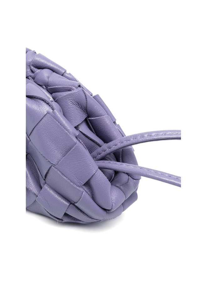 Tiny Pouch Coin Purse in Leather in Lavender