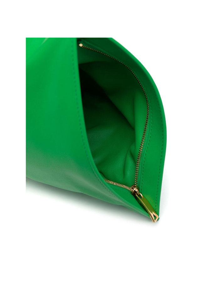 Mini Twist Clutch Bag in Leather in Grass Green