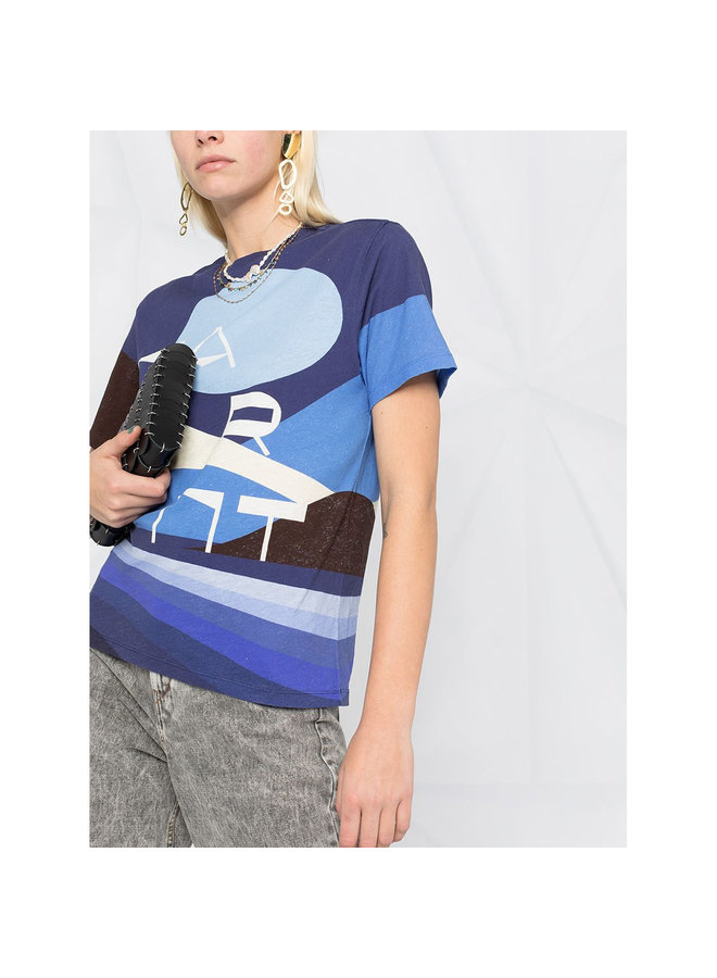 Graphic Print T-shirt in Cotton in Blue