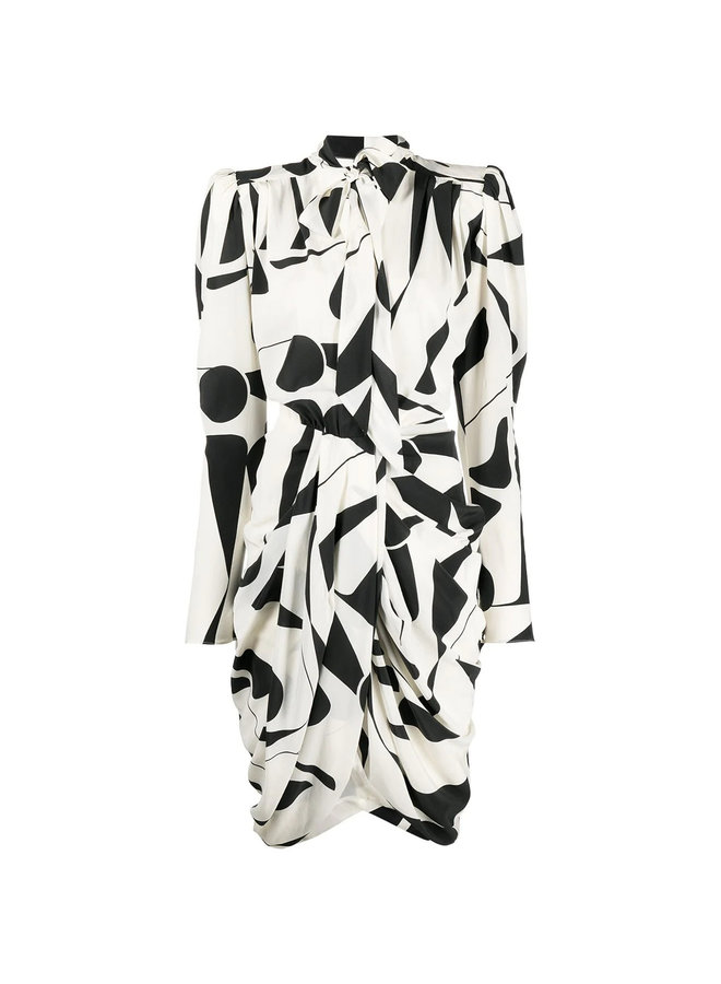 Knee Length Printed Dress in Silk in Ecru