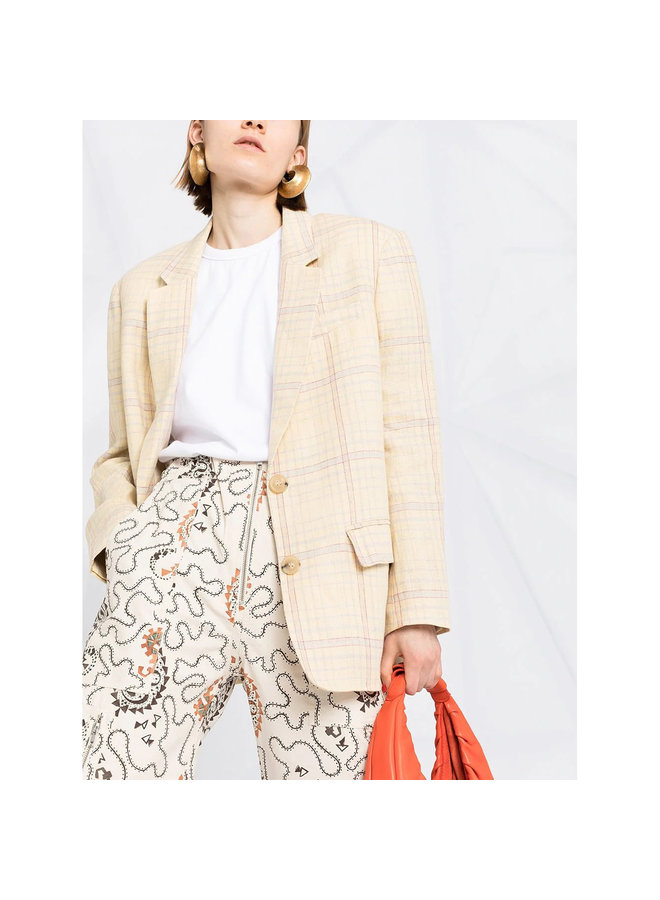 Checked Blazer Jacket in Linen in Light Yellow