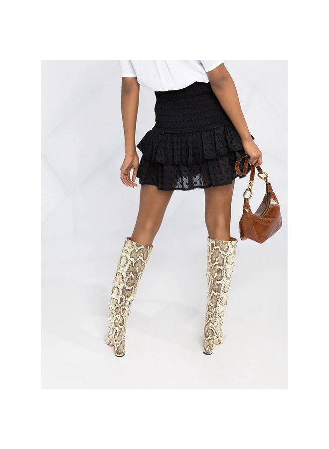 Mini Ruffled Skirt in Cotton in Black