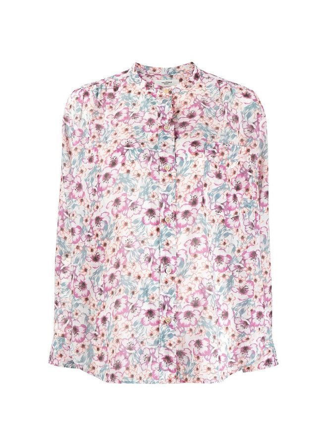 Long Sleeve Floral Shirt in Cotton in Ecru