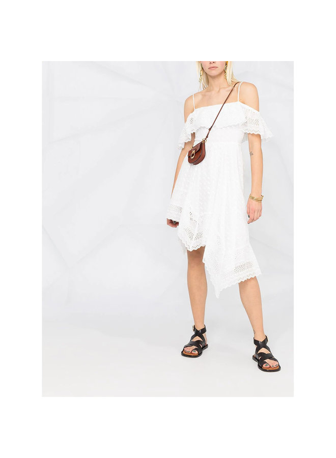 Asymmetric One-Shoulder Dress in Cotton in White