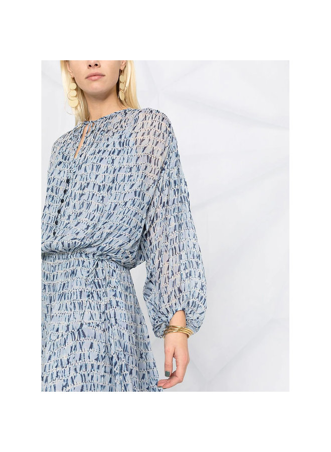 Long Sleeve Midi Tie Dye Dress in Blue