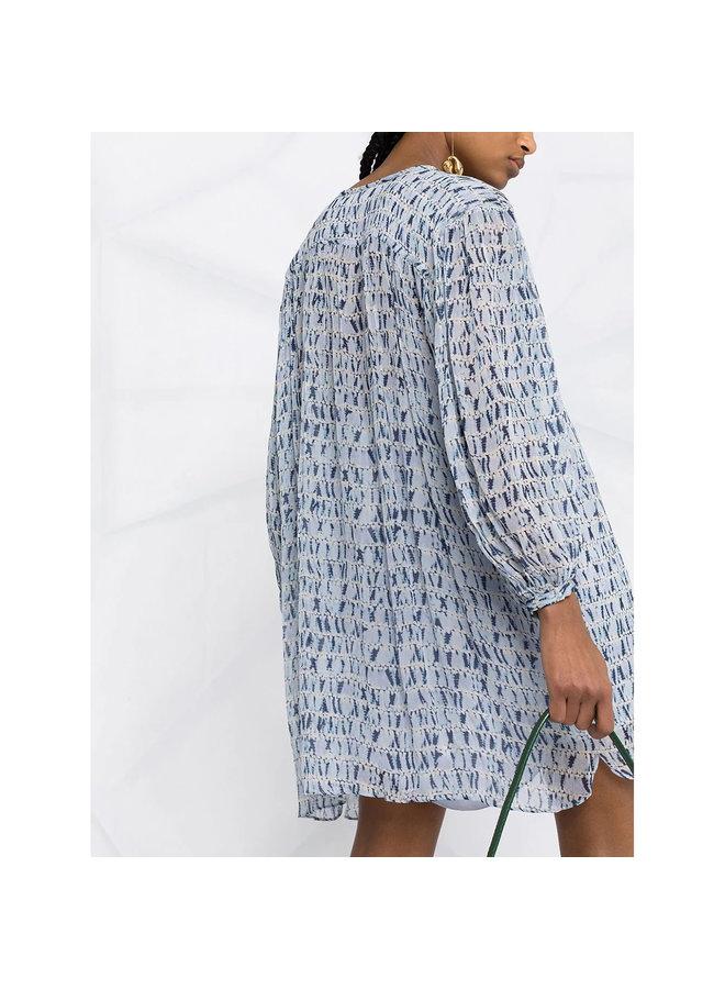 Mini Long Sleeve Dress in Tie Dye in Blue