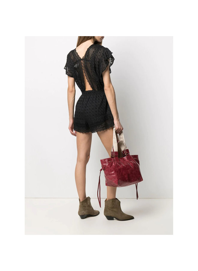 Short Sleeve Broderie Playsuit in Cotton in Black