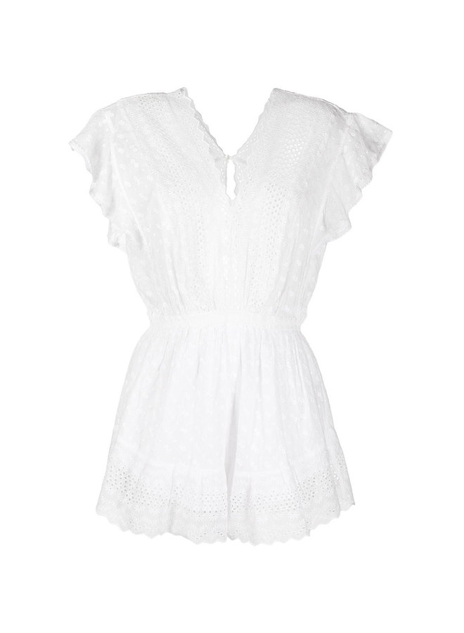 Short Sleeve Broderie Playsuit in Cotton in White