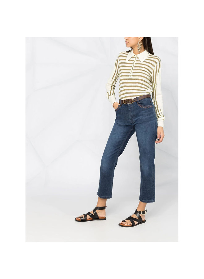 Mid Rise Flared Pants in Denim in Blue