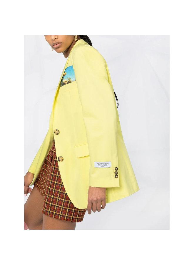 Blazer Jacket in Cotton in Light Yellow
