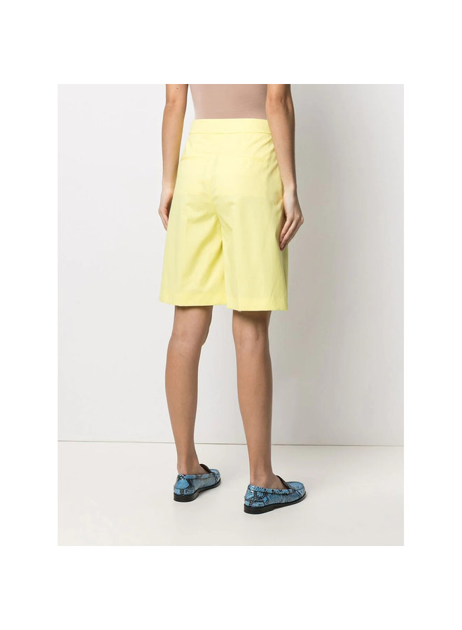 High Rise Wide Leg Shorts in Cotton in Light Yellow
