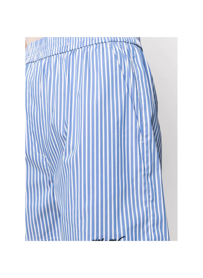 Elasticated Shorts in Stripped Print in Cotton in Blue