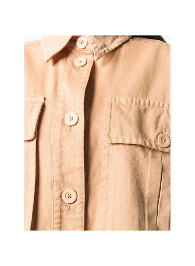 Oversized Shirt Jacket in Cotton in Pink