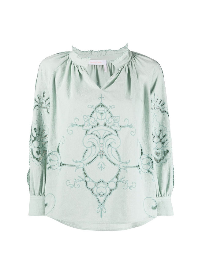 Long Sleeve Lace Blouse in Cotton in Green