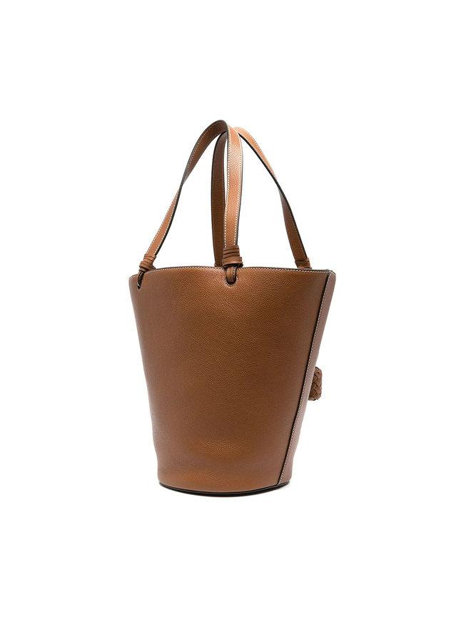 Cecilia Medium Bucket Bag in Leather in Caramel