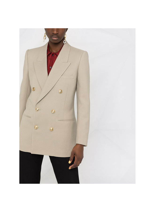 Double Breasted Blazer Jacket in Wool in Taupe