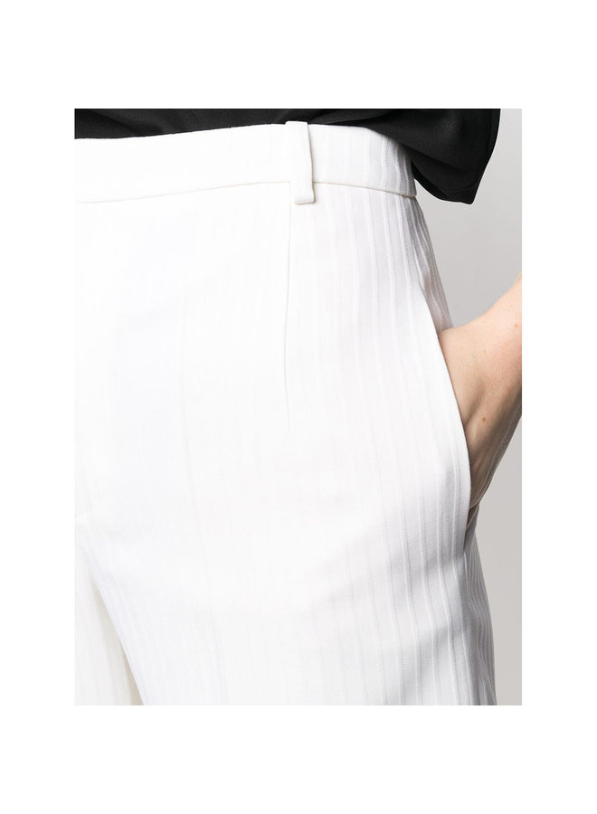 Pin Stripe Tailored Culotte in Wool in Off White