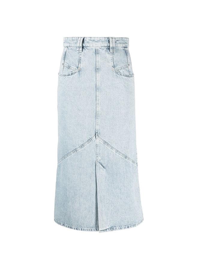 Midi Skirt in Denim in Light Blue