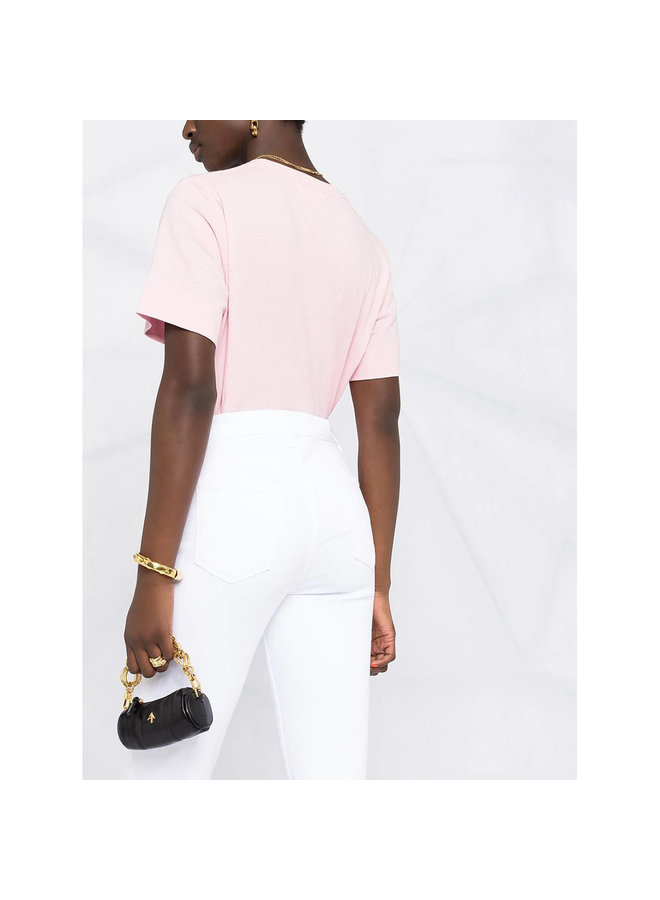 High Waisted Cropped Jeans in Stretch Cotton in White