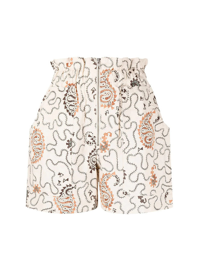 High Waisted Printed Shorts in Cotton in Ecru