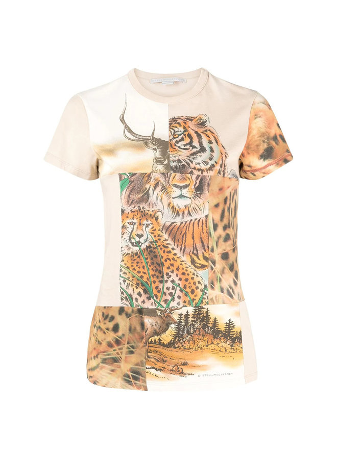T-shirt in Tiger Print Patchwork