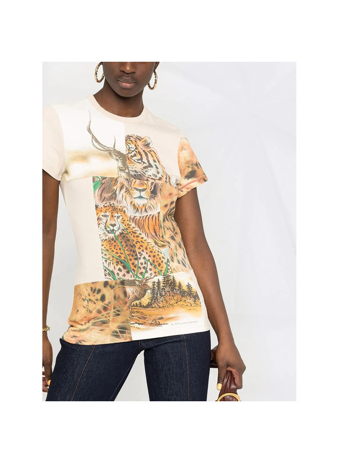 T-shirt in Tiger Print Patchwork in Cotton in Neutral