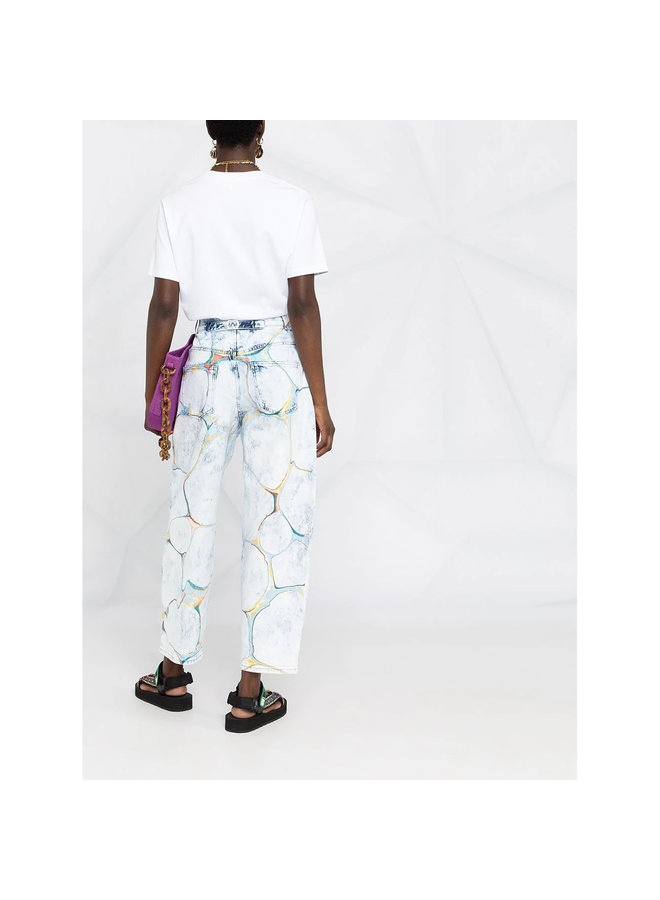 Straight Leg Marble Print Jeans in Washed Denim