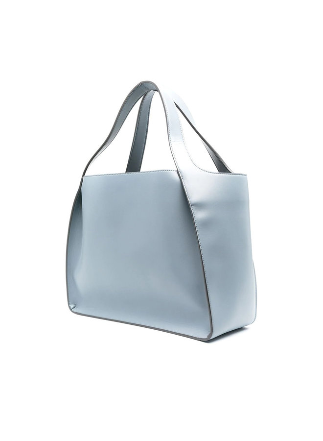 Logo Large Tote Bag in Faux Leather in Cameo Blu