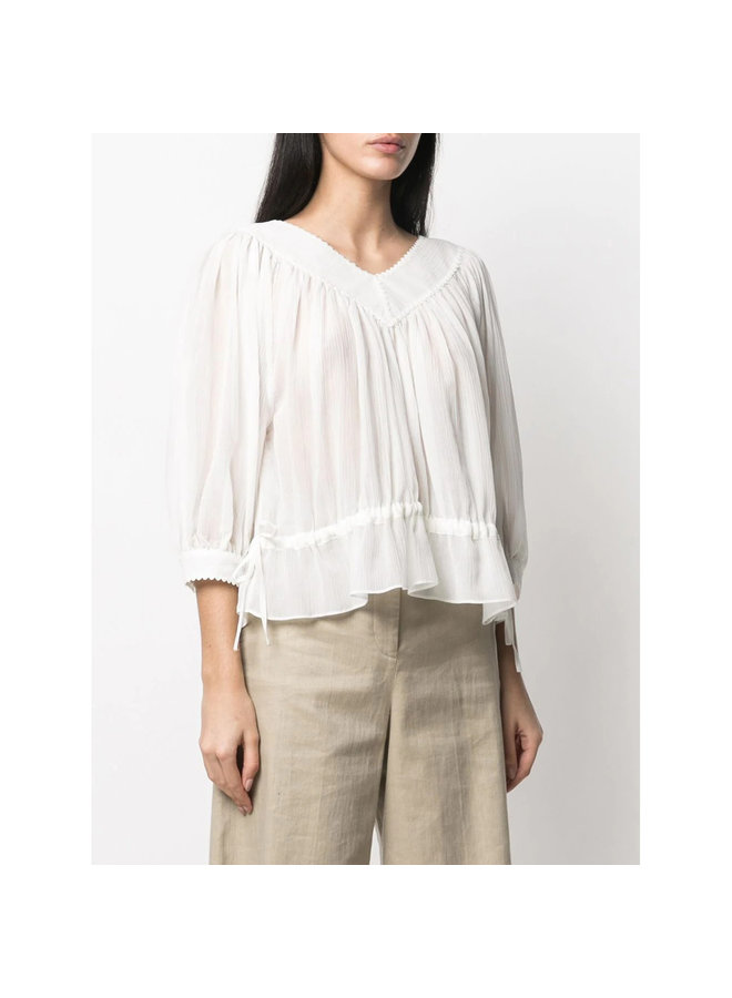 Long Sleeve Blouse in Silk Cotton in White