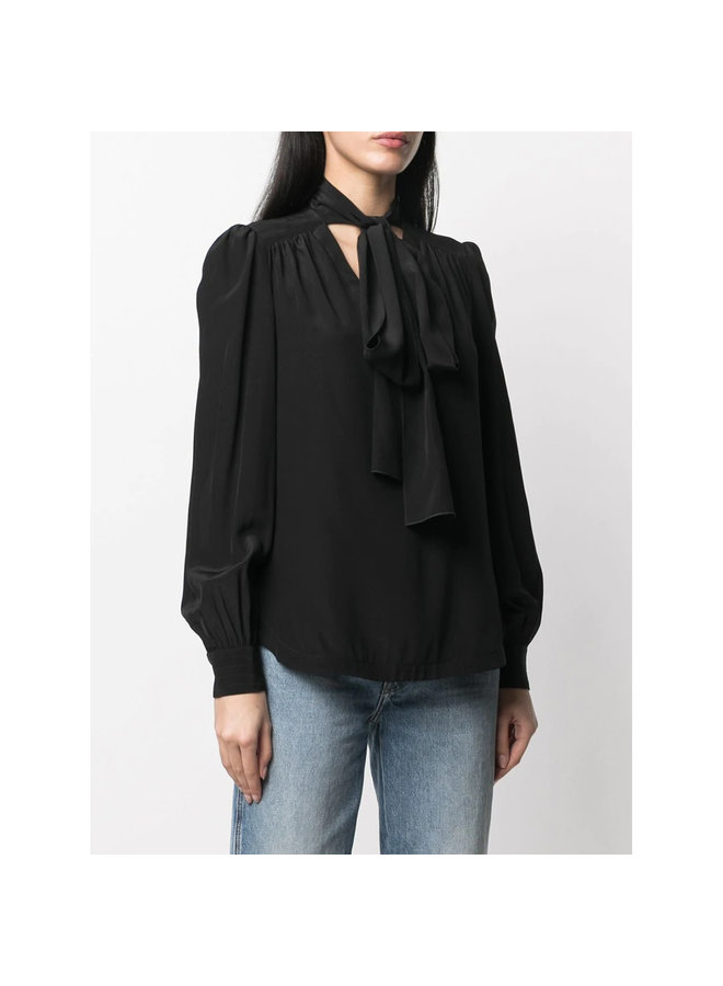 Tie Up Neckline Blouse in Silk in Black