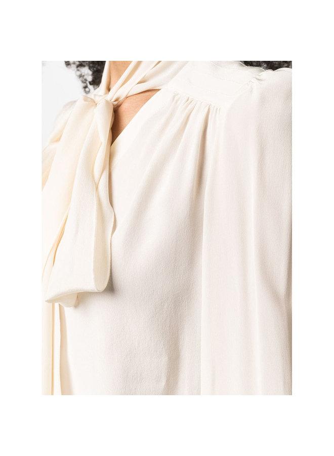 Tie Up Neckline Blouse in Silk in Cream