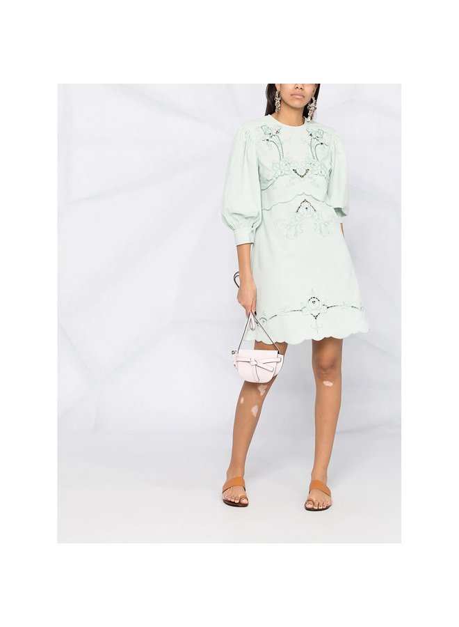 Mini Embroidered Dress in Cotton in Pale Blue
