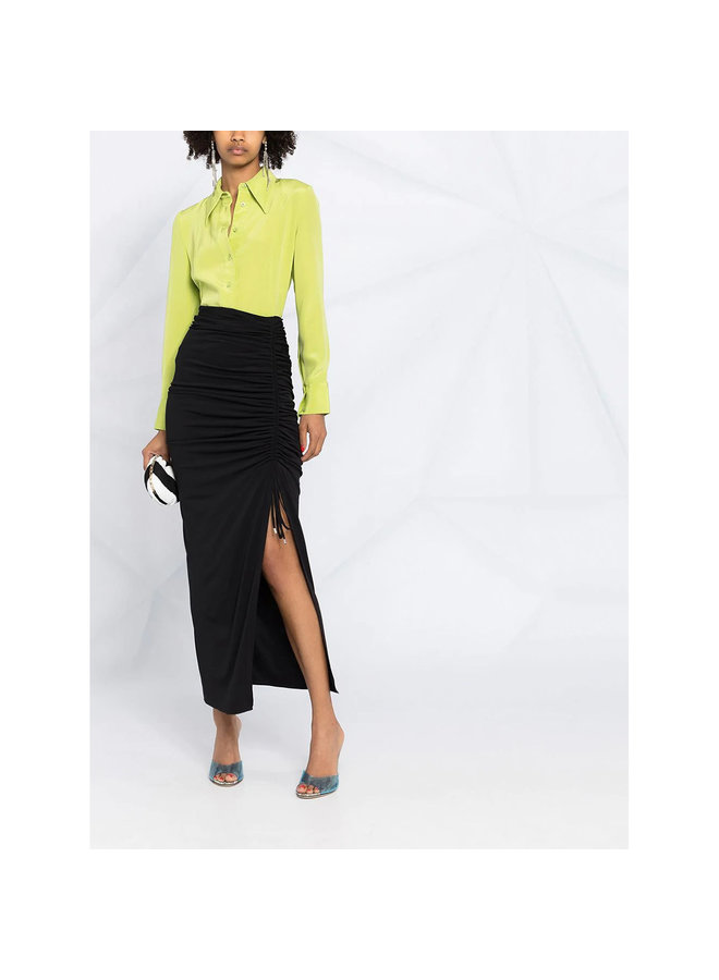 Midi Skirt with Front Slit in Black