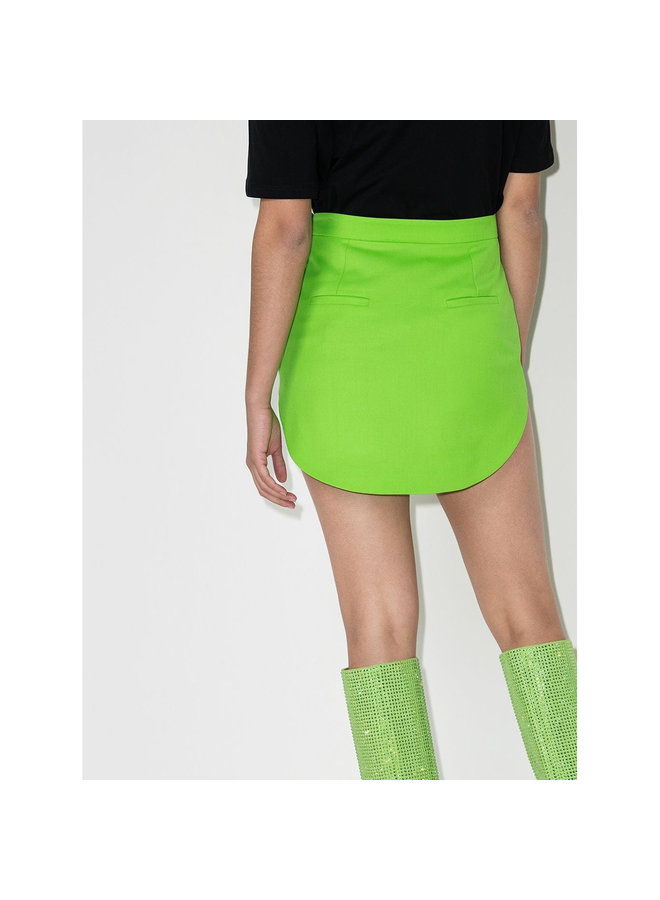 Mini High Waisted Skirt in Stretch Wool in Green