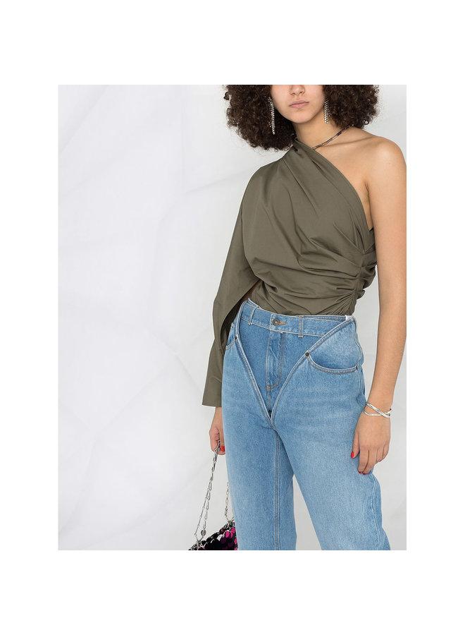 One Shoulder Asymmetric Blouse in Cotton in Khaki Green