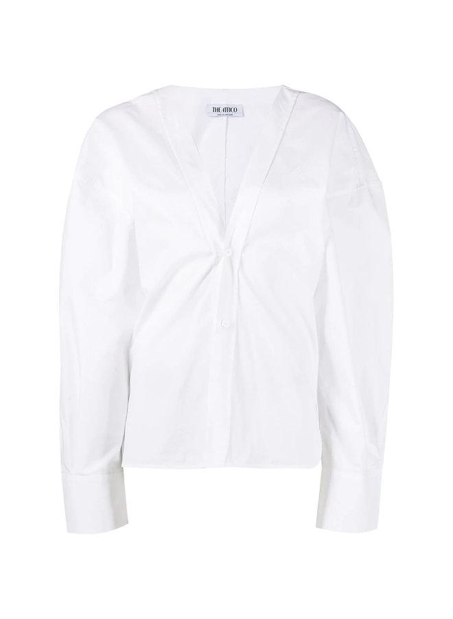 Oversized V-Neck Shirt in Cotton in White