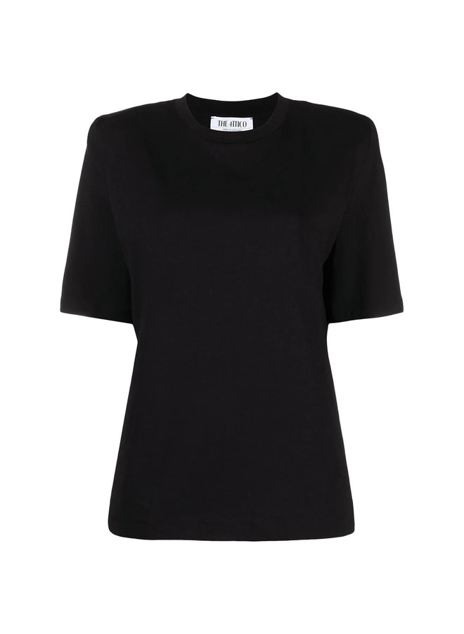 T-shirt with Padded Shoulders in Cotton in Black