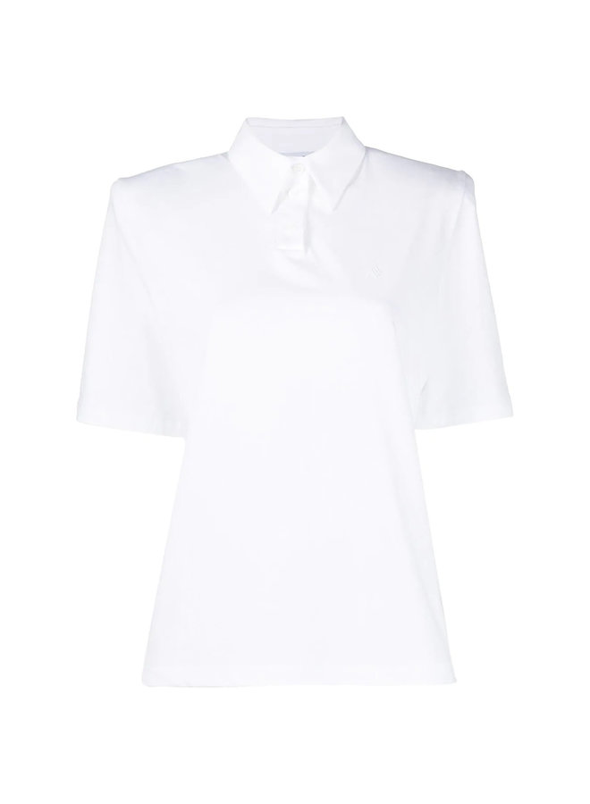 Polo T-shirt with Padded Shoulders in Cotton in White