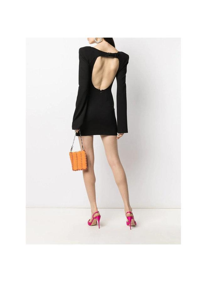 Mini Dress with Cut Out Detail in Stretch Viscose in Black