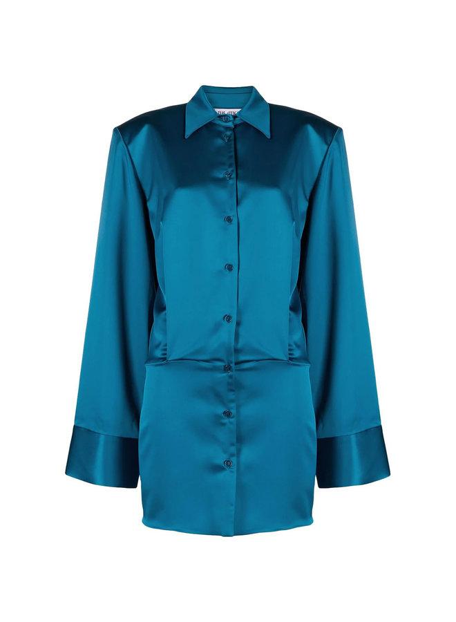 Mini Shirt Dress in Satin in Blue