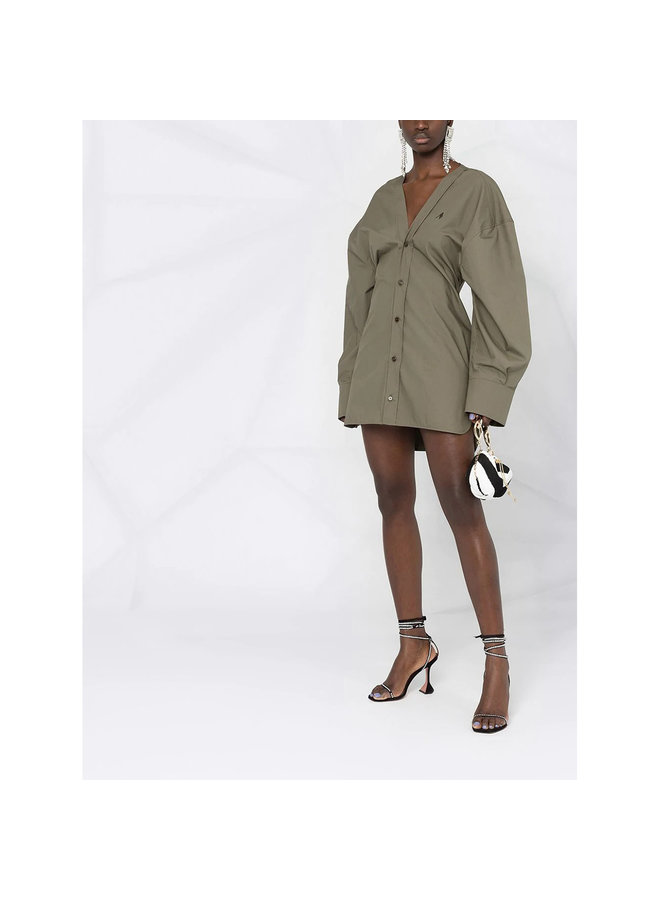Mini Shirt Dress in Cotton in Khaki Green