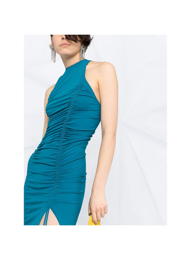 Long Draped Dress with Side Slit in Stretch Viscose in   Blue