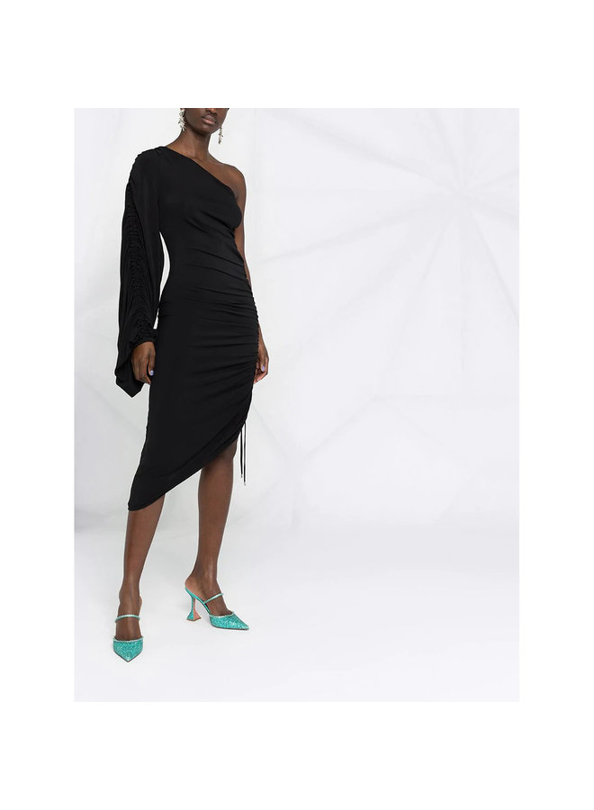 One Shoulder Asymmetric Midi Dress in Black