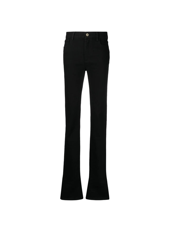 High Waisted Flared Jeans in Stretch Cotton in  Black