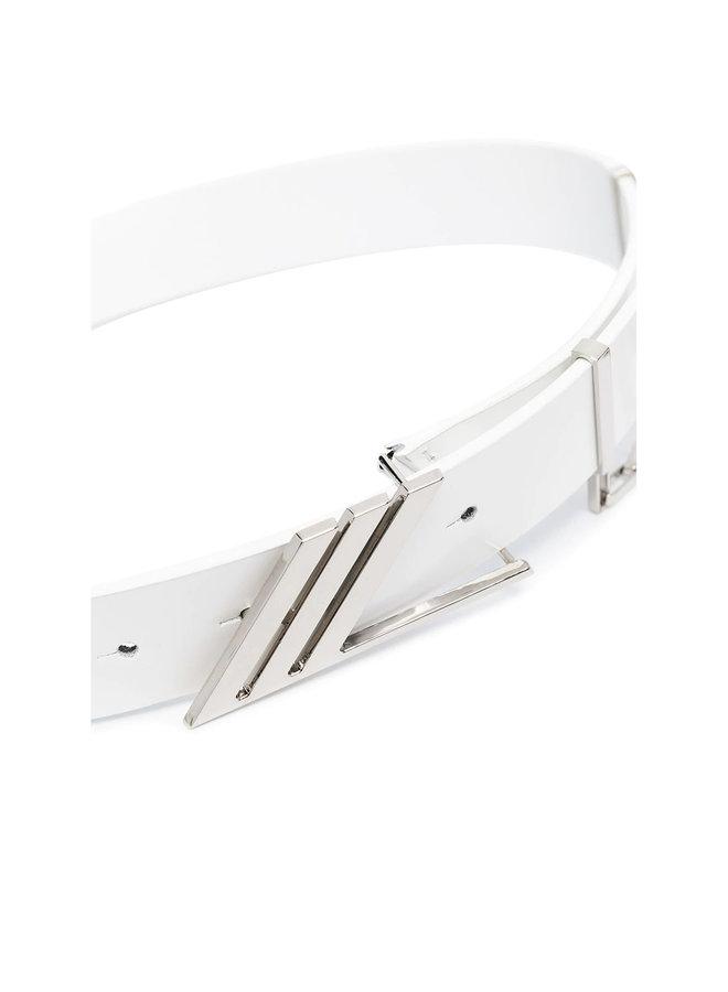 Logo Waist Belt in Leather in White