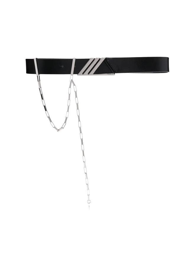 Logo Waist Belt in Leather in Black