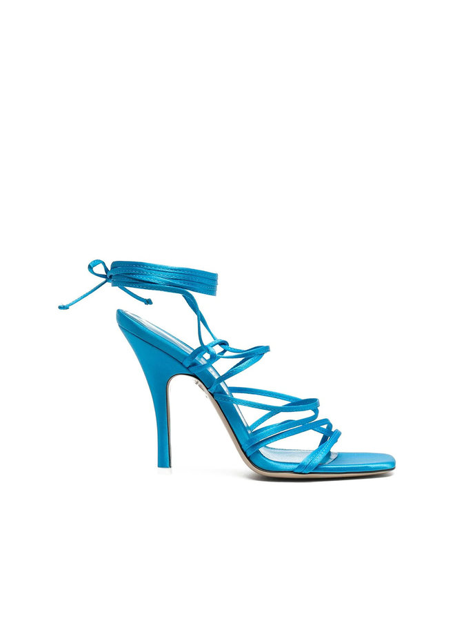 Lace Up Sandals in Satin in Turquoise