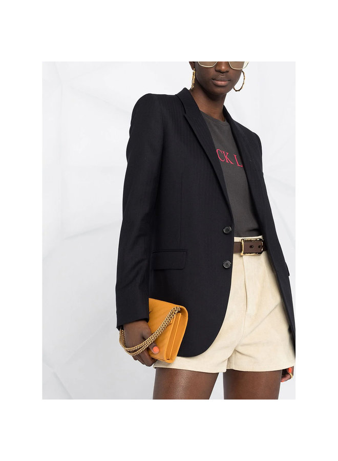 Classic Blazer Jacket in Pinstripe Wool in Navy